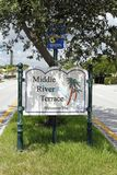 Middle River Terrace Welcomes You Sign. Fort Lauderdale, FL, USA - August 25, 2014: Middle River Terrace Welcomes You entrance sign to this neighborhood. Middle royalty free stock photography