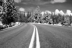 Middle of the Road. Black and white landscape view from the middle of the road in Montana Stock Photography