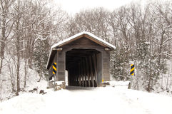 Middle  Road Bridge Winter. Middle Road covered bridge in winter Stock Photo
