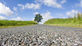 Middle of the road, in countryside. Royalty Free Stock Image