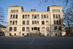 Middle school. The building was completed in 1888. In 85 years served the building under differen names, but as the same type of school, which is today called Royalty Free Stock Photo