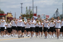 Middle School Band flutes in parade in small town America Stock Images