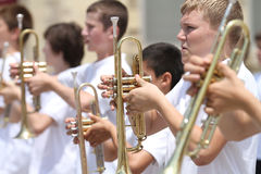 Middle School Band trumpeters in parade in small town America Stock Photography