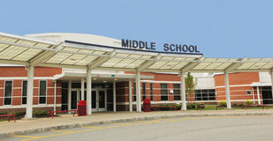 Middle School building. Modern middle school building with