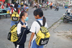 Middle school students home from school, in Shenzhen, China, Asia Royalty Free Stock Images
