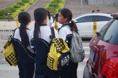 Middle school students home from school, in Shenzhen, China, Asia Stock Photos