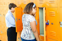 Middle School Students at Lockers Royalty Free Stock Photos