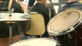 Middle school students practicing in Music Class (3 of 10). A view or scene of School stock footage