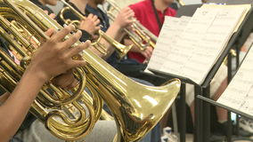 Middle school students practicing in Music Class (2 of 10). A view or scene of School stock footage