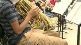 Middle school students practicing in Music Class (8 of 10). A view or scene of School stock footage