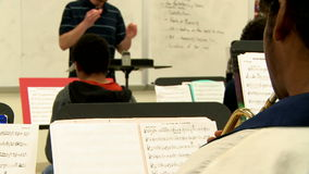 Middle school students practicing in Music Class (9 of 10). A view or scene of School stock video