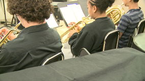 Middle school students practicing in Music Class (7 of 10). A view or scene of School stock footage