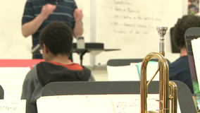 Middle school students practicing in Music Class (4 of 10). A view or scene of School stock video footage