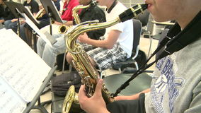Middle school students practicing in Music Class (6 of 10). A view or scene of School stock footage
