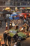 The middle section of the Foodfestival. Amsterdam, the Netherlands - November 29, 2015: Visitors at the Koffiekever, the Brand Bierbar and the Léntrecotmobile Royalty Free Stock Photos
