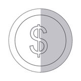 Middle shadow monochrome circle with currency symbol of dollar. Illustration Stock Image