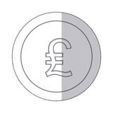 Middle shadow monochrome circle with currency symbol of lira italy Stock Images