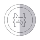 Middle shadow monochrome circle with currency symbol of nigerian naira Royalty Free Stock Photos