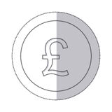 Middle shadow monochrome circle with currency symbol of sterling pound Stock Images