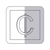 Middle shadow monochrome square with currency symbol of cent Royalty Free Stock Images