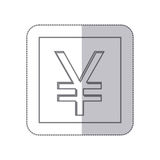 Middle shadow monochrome square with currency symbol of china Royalty Free Stock Photo