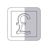 Middle shadow monochrome square with currency symbol of sterling pound Royalty Free Stock Photography