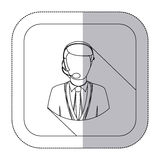 Middle shadow monochrome sticker with men operator with headphone in frame. Illustration Royalty Free Stock Photos