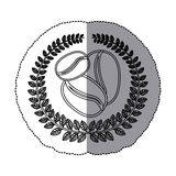 middle shadow monochrome sticker with olive crown with coffee beans Royalty Free Stock Image