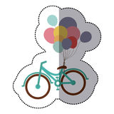 Middle shadow sticker colorful with olive crown with bike and balloons. Illustration Stock Photos