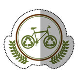 middle shadow sticker colorful with olive crown with bike with recycling symbol in circle Stock Images