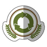 middle shadow sticker colorful with olive crown with circular recycling symbol in circle Stock Photo