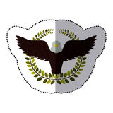 middle shadow sticker colorful with olive crown with eagle with open wings Royalty Free Stock Photos