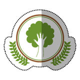 middle shadow sticker colorful with olive crown with hand in shape of tree in circle Royalty Free Stock Photo