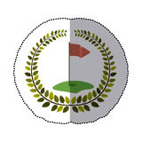 middle shadow sticker colorful with olive crown with hole and flag of golf Stock Photos