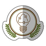 middle shadow sticker colorful with olive crown with lightbulb with recycling symbol in circle Stock Photography