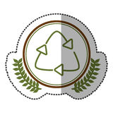 middle shadow sticker colorful with olive crown with recycling symbol in circle Royalty Free Stock Image