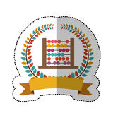 Middle shadow sticker with colorful olive crown with ribbon and abacus. Vector illustration Stock Photo