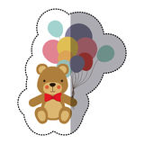 middle shadow sticker colorful with teddy bear and balloons Royalty Free Stock Photography