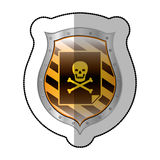 Middle shadow sticker of file virus in yellow shield Stock Photos