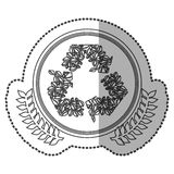 middle shadow sticker monochrome with olive crown with ornament leaves recycling symbol in circle Stock Image