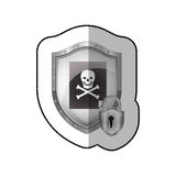 Middle shadow sticker of shield with file virus and padlock Stock Image