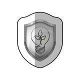 Middle shadow sticker of shield with light bulb with filament leaves Royalty Free Stock Photos