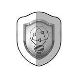 Middle shadow sticker of shield with light bulb with filament recycling Royalty Free Stock Photo