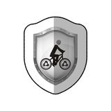 Middle shadow sticker of shield with man in eco bike Royalty Free Stock Photography