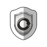 Middle shadow sticker of shield with reuse symbol Stock Photo