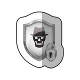 middle shadow sticker of shield with skull with hat and padlock Royalty Free Stock Image