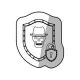 Middle shadow sticker of shield with skull with hat and padlock Royalty Free Stock Photos
