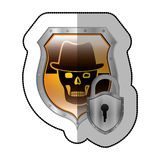 Middle shadow sticker of skull with hat and padlock in yellow shield Stock Image