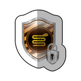 Middle shadow sticker of snake virus and padlock in yellow shield Stock Image