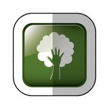 Middle shadow sticker of square green with hand in shape of tree Royalty Free Stock Images